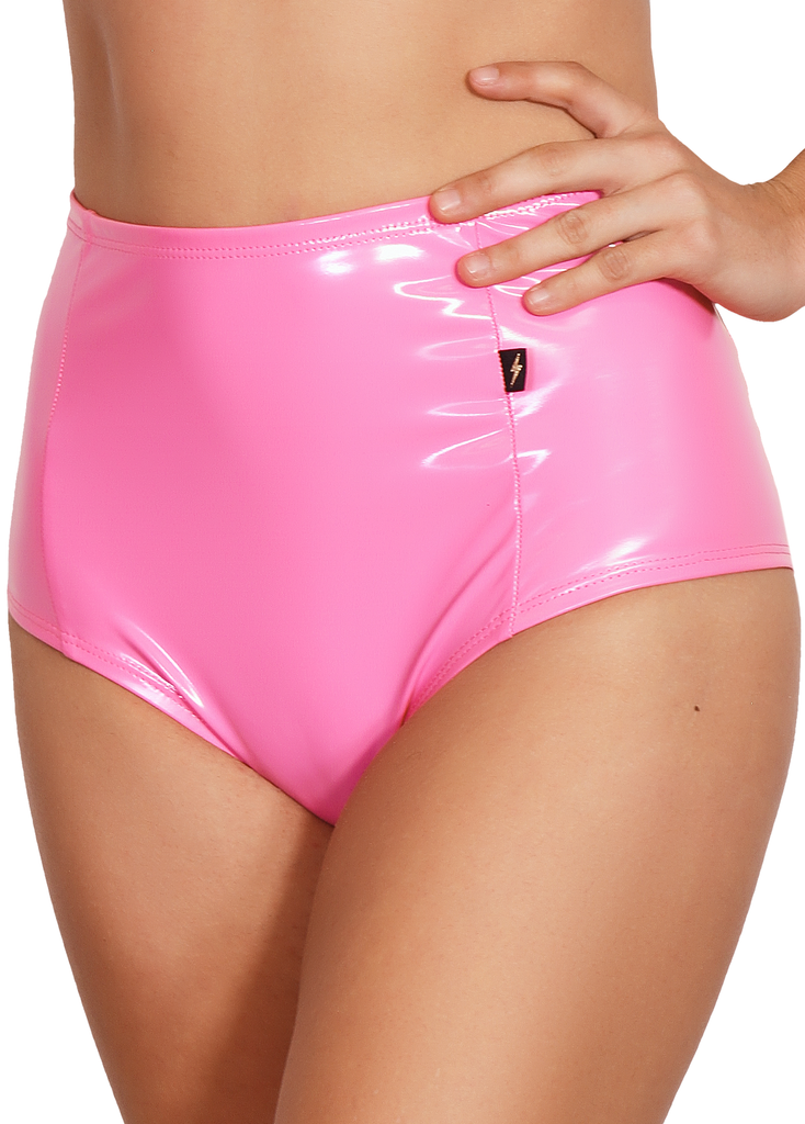 Bubble Gum Pink Heroine Liquid High Waisted Hot Pants