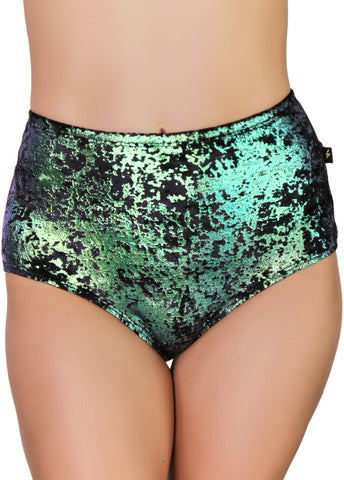 Viva La Velvet Emerald High Waisted Hot Pants