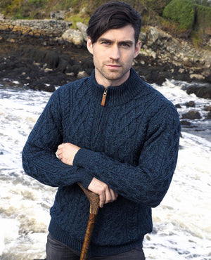 Irish - Half Zip Aran Sweater - Sherwood