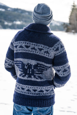 Cowichan Sweater - Navy Raven -AVAILABLE IN 8 SIZES