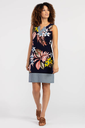 Tribal - Sleeveless Tropical Print Dress With Border Print