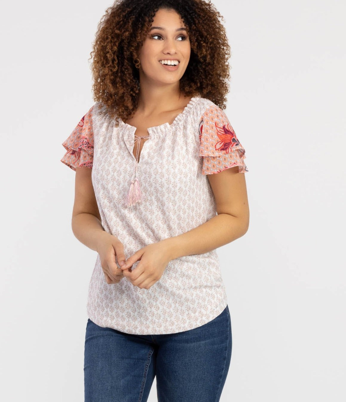 Tribal - Ruffle Sleeve Top