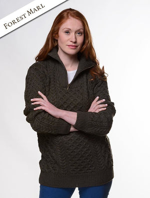 Irelands Eye - Unisex Troyer Aran Sweater