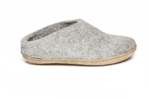 Glerups Unisex Slippers - Leather Soles - Grey