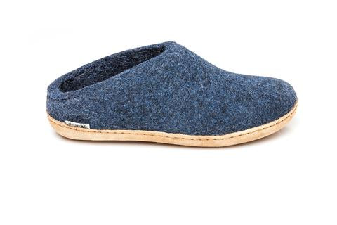 Glerups Unisex Slippers - Leather Soles - Denim
