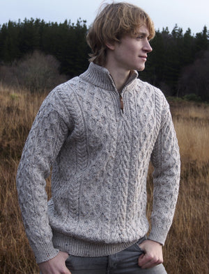 Irish - Half Zip Aran Sweater