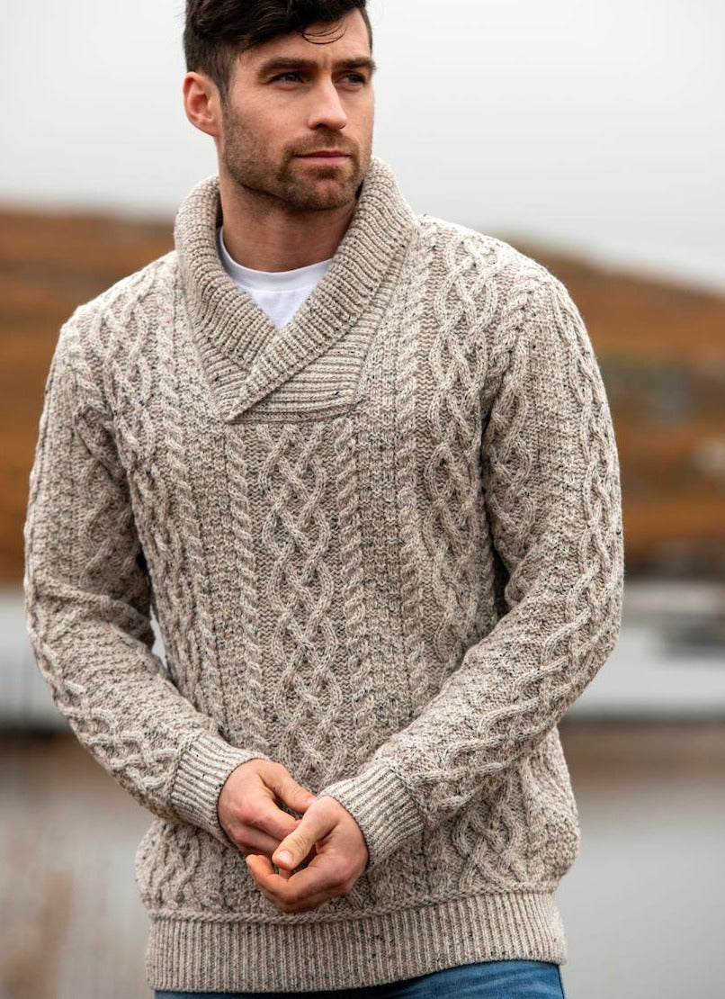 Irish - Men's shawl Collar Sweater - Oat