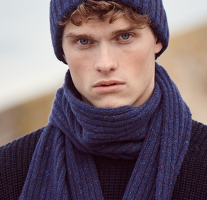 Irelands Eye - Wool/Cashmere Ribbed Scarf - Navy