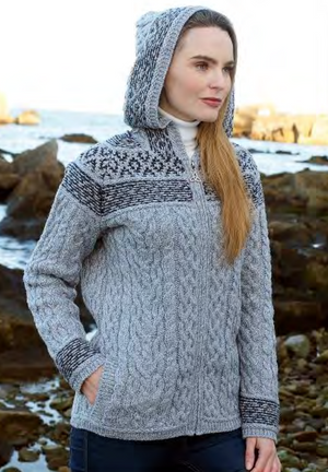 Irish - Fairisle Hoodie - Soft Grey