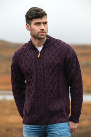 Irish - Half Zip Aran Sweater - Damson