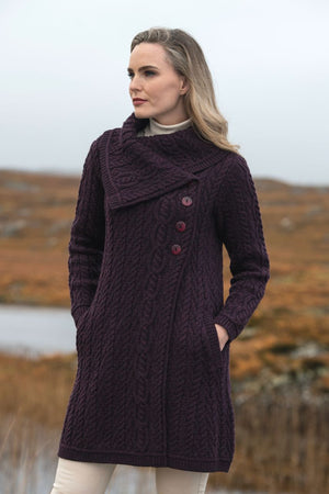 Irish - Collar Coat - Damson