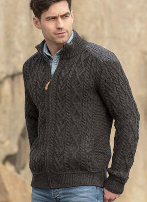 Irish - Men's Patch Shoulder Sweater - Charcoal