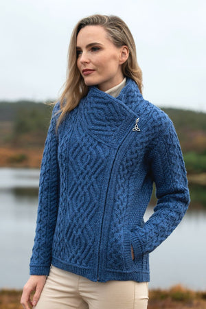 Irish - Short, Side Zip Sweater - Blue