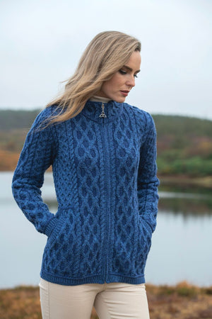 Irish - Short Zip Cardigan - Blue