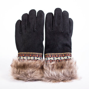 Hides in Hand - Fur&Braid Deer Suede Gloves - Women's - Black