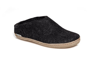 Glerups Unisex Slipper - Leather Sole - Charcoal