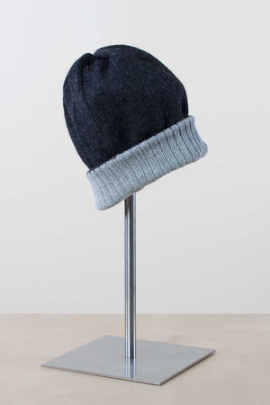 Simply Natural - Reversible Alpaca Ski Hat - Charcoal/Silver
