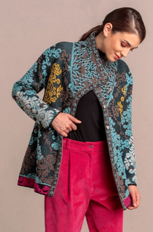 IVKO - Women's Brocade Floral Pattern Jacket - Black