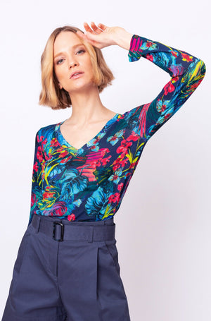 Ivko - Women's Printed Pullover V-Neck - Navy