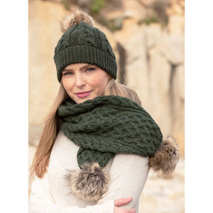 Irish - Merino Pompom Hat - Army Green