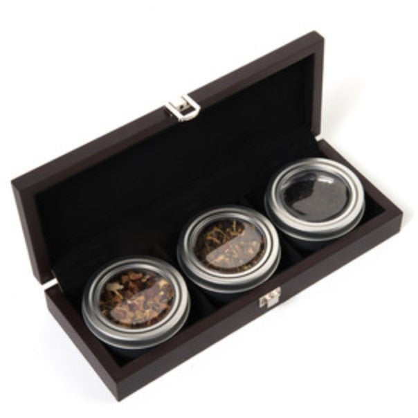 3-Tin Wooden Tea Gift Box - Shineworthy Tea