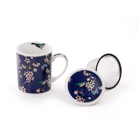 Birds & Butterflies Tea Mug With Infuser Basket - Shineworthy Tea