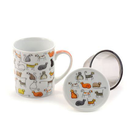 Cat Lover Tea Mug With Infuser Basket - Shineworthy Tea