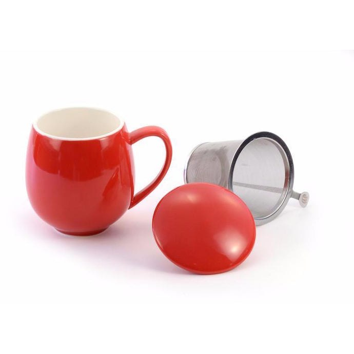 Porcelain Tea Mug With Infuser & Lid - Shineworthy Tea