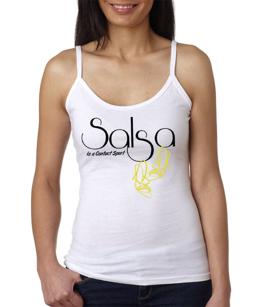 Women's Salsa Is A Contact Sport!  Gold Shoes - Spaghetti Strap Tank Tee