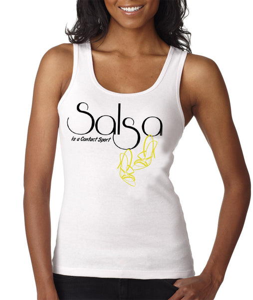 Women's Salsa Is A Contact Sport!  Gold Shoes - Tank Tee