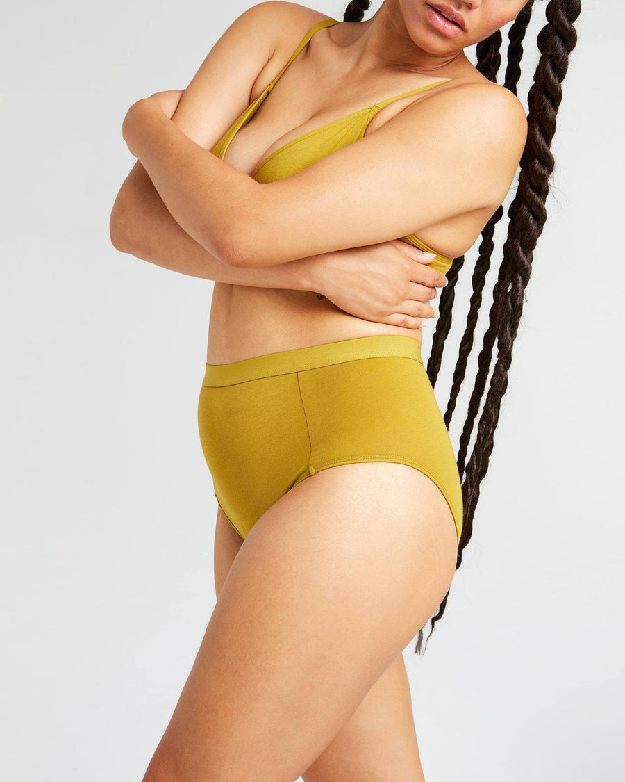 RICHER POORER - HIGH WAIST BRIEF - GOLDEN VERDE
