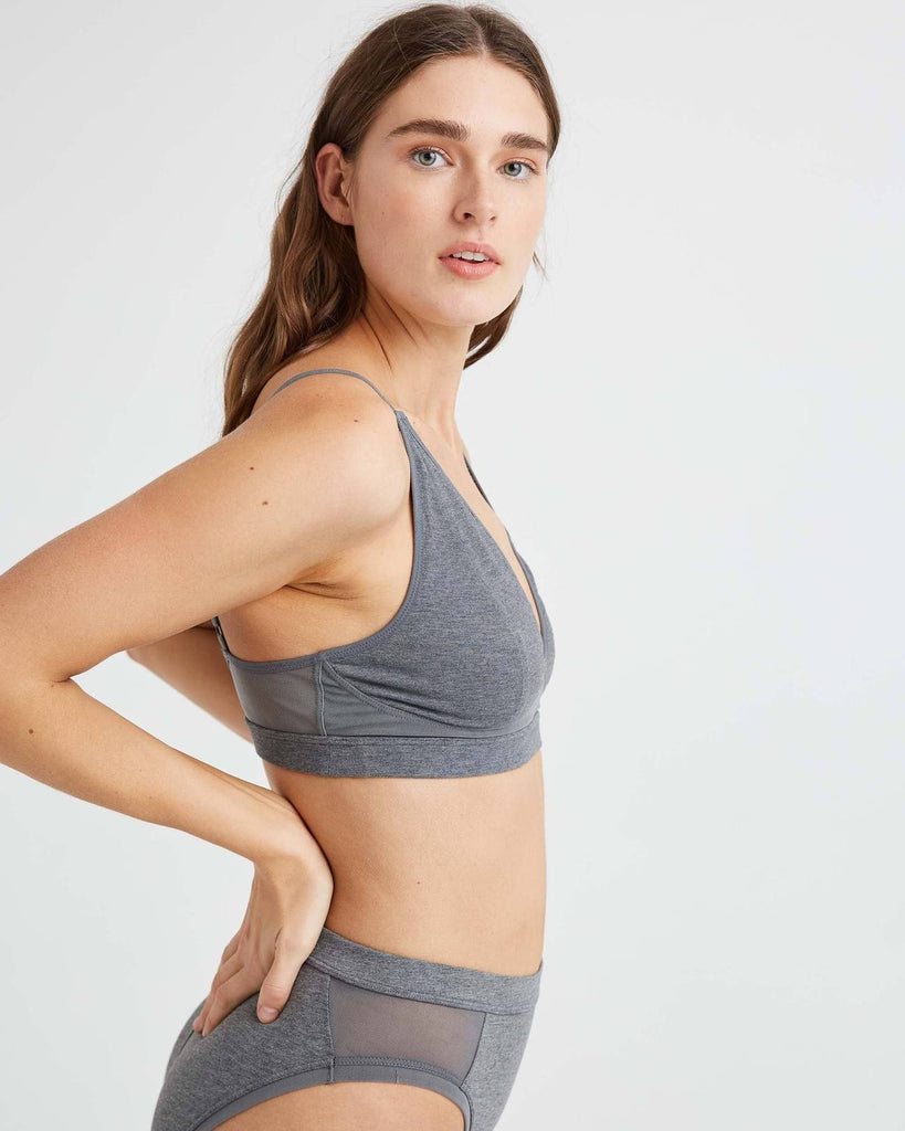 RICHER POORER - HIGH CUT BRALETTE - CHARCOAL HEATHER GREY