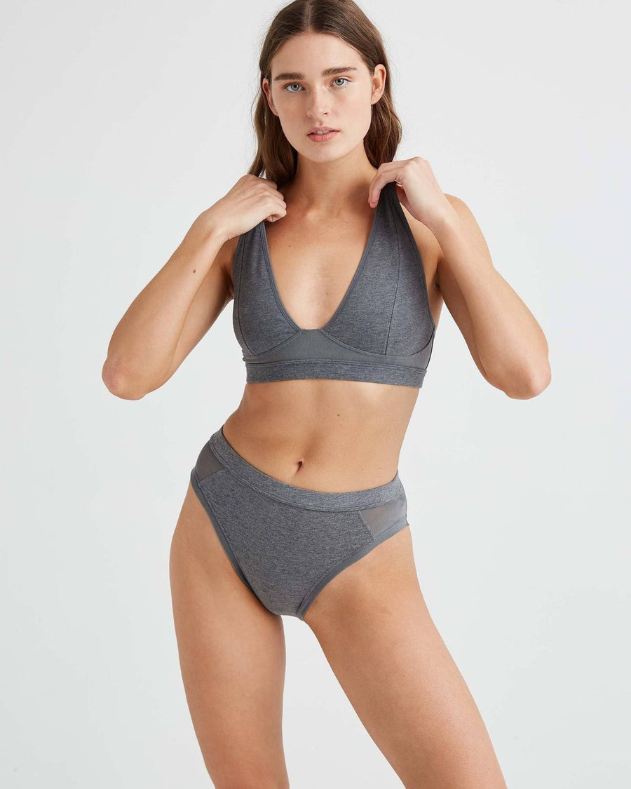 RICHER POORER - HIGH CUT BRALETTE - CHARBON CHINÉ