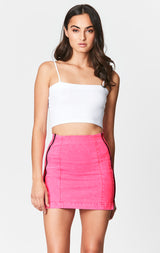 NEON PINK MARGERY DOUBLE SIDE ZIP SKIRT