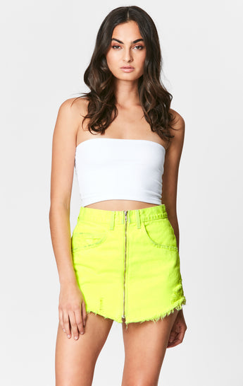 NEON LIME BEATRICE ZIP FRONT SKIRT