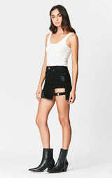 Carmar Denim: BLACK COLIN SKIRT WITH CUTOUT - SKIRTS