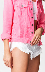 NEON PINK OTHELLO DENIM JACKET