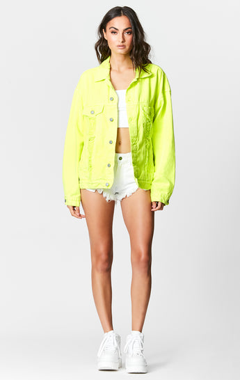 NEON LIME AUDREY OVERSIZED DENIM JACKET
