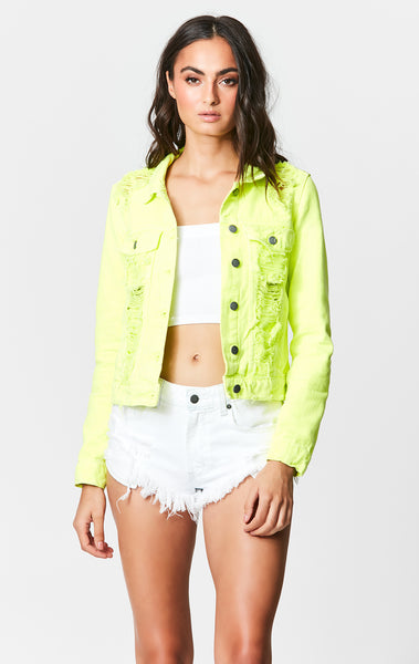 NEON LIME ROMEO DENIM JACKET
