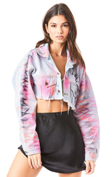 NICHOLAS ZIG ZAG TIE DYE CROP DENIM JACKET