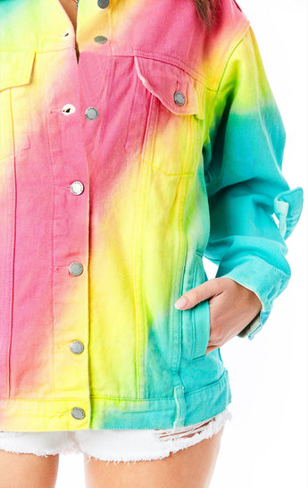 SARDONYX RAINBOW TIE DYE DENIM JACKET