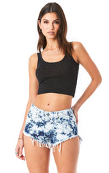 MOGAN CRYSTAL TIE DYE DENIM SHORT
