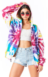 FIREWORK TIE DYE ZIP UP SWEATSHIRT