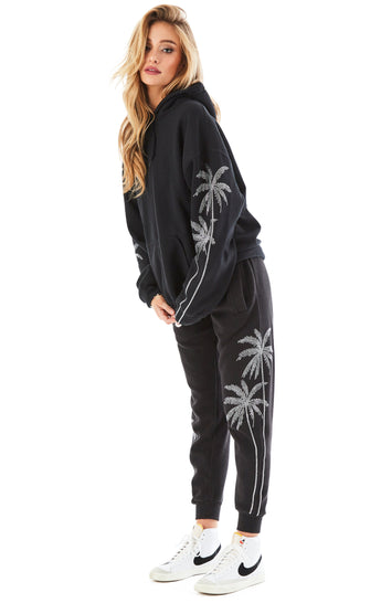 RHINESTONE PALM TREE SWEATPANTS