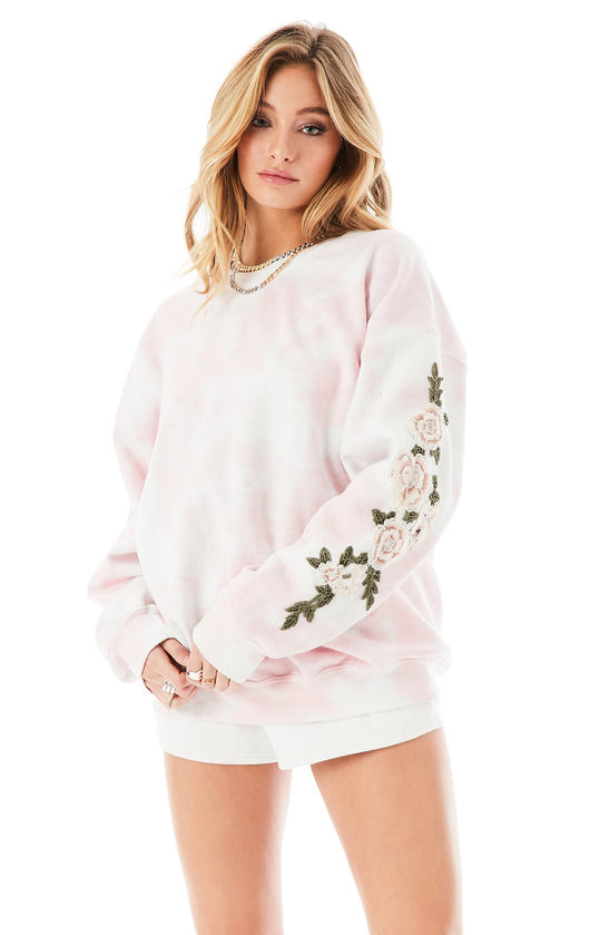 ROSE EMBROIDERED TIE DYE PULLOVER
