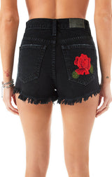 TITANIA ROSE EMBROIDERED DENIM SHORTS