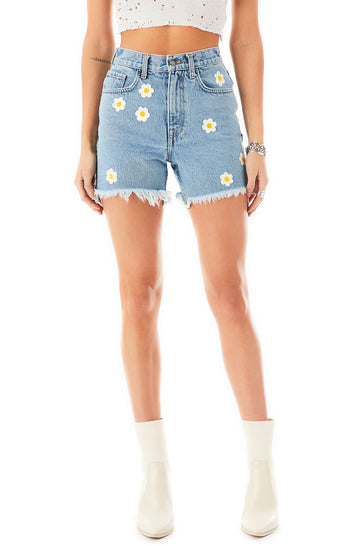 CASSIO DAISY EMBROIDERED DENIM SHORTS