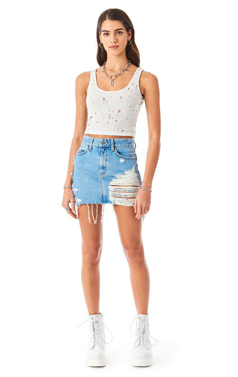 COLIN ZINCITE DENIM SKIRT