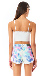 MOGAN SPLOTCH TIE DYE DENIM SHORT
