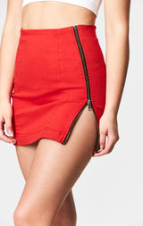 RED MARGERY DOUBLE SIDE ZIP SKIRT